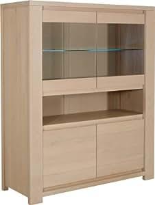 Buffet vaisselier eclairage led 4 portes chêne et verre