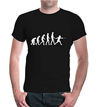 T-Shirt The Evolution of fencing-S-Black-White