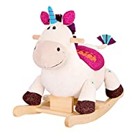 Rabbfay Baby Zebra Rocking Horse Wooden, Plush Rocking Animal, Toddler/Baby Rocker Toy for Nursery, Kid Riding Horse/Toy