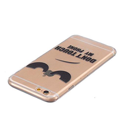 """iPhone 6s Plus 5.5"""" Hülle, SpiritSun Transparent Handy Hülle Serie für Apple iPhone 6 6S Plus (5.5 Zoll) Weich TPU Silikon Schutzhülle Niedlichen Muster Schale Schwarz Feder Tasche Ultradünnen Etui An Don't Touch My Phone"""
