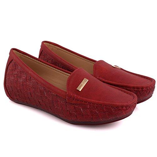 Oz Signore Signore Zini Comode Scarpe Basse Pantofole Mocassini Pompe Scarpe Taglia 3-8 - Mt81732 Rosso