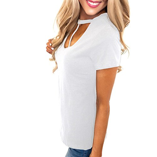 FeiTong Aux femmes Coton Sexy Manche courte Réservoir Tops de récolte Manche courte T-shirt Blanc