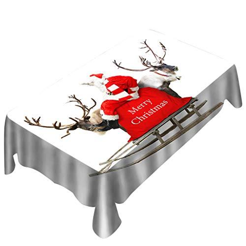 Weihnachten Tischdecke, friendGG Weihnachtstischdecke Drucken Rechteck Tischtuch Urlaubs Party Zuhause Dekor,Weihnachtsmotiv Weihnachtsdeko Mitteldecke Tischdekoration