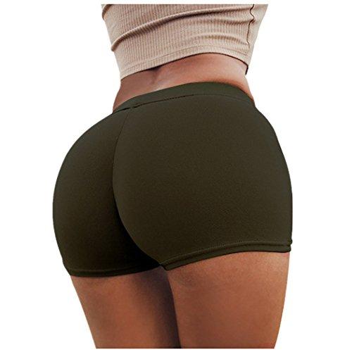 Damen Sport Shorts FORH Frauen Sommer Vintage High Waist Elastische Stretch Kurz Hosen Yoga Sport Fitness Workout Hotpants Sexy Skinny Leggings bequem Zuhause Schlaf shorts (Armee Grün, L) (Skinny Arm)