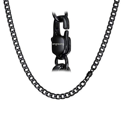 FaithHeart Edelstahl Panzerkette 5 mm Schwarz Halskette Schlüsselkette Hosenkette Herren, Hundemarken Mit Gravur