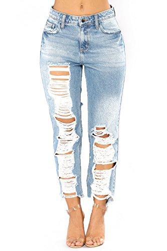 MYX Frauen Zerstört Extreme Riss Distressed Denim Hosen Jeans Hosen,Blue,XXL Distressed Blue Jeans
