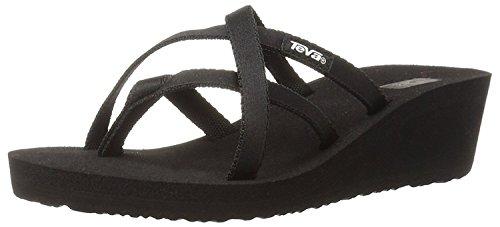 Criss Cross Wedge Sandal (Teva Women's Mush Mandalyn Ola 2 Flip Flop, Black, 39 B(M) EU/6 B(M) UK)