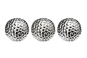 Premier Housewares Hammered Effect Ceramic Decorative Balls - Silver, Set of 3