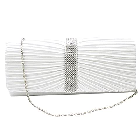 Wocharm(TM)BRAND NEW Satin Elegant WOMENS DIAMANTE Crystal PARTY EVENING BRIDAL PROM SPARKLY WEDDING LADIES CLUTCH BAG