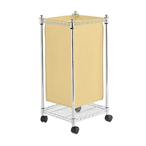Shopfitting Warehouse Square Laundry Hamper, Cream/Chrome, 700 x 350 x 350 mm