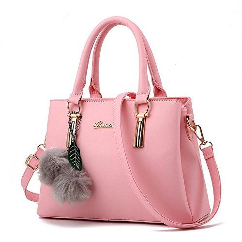 HQYSS Borse donna PU in pelle goffrata atmosfera femminile OL pendolari tracolla Messenger Handbag , rose red pink