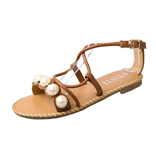 Jamicy Donna estate moda cinghie romane casual Flat fibbia sandali scarpe Marrone