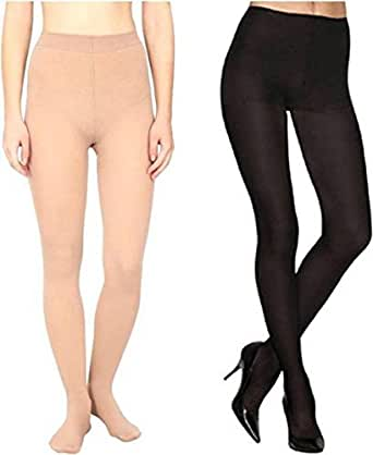 BoldnYoung Pack of 2 , Women High Waist Black and Beigh Pantyhouse Stockings Super Fine Fiber Excellent Stretch Sheer Tights Long Comfort Super Soft Pantyhose Black and Skin Color