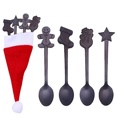 Dessertlöffel,Rifuli® 4 STÜCKE Weihnachten Bunte Löffel Griff Löffel Besteck EIS Trinken Werkzeuge Gemischte Bestecksets Joghurtlöffel Löffel Langer Griff Löffel Teelöffel
