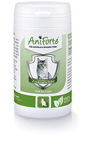 AniForte Zeckenschild für Katzen 60 Kapseln - Natürlicher Zeckenschutz, Abwehr gegen Zecken und Parasiten, Anti-Zecken Schutz, Zeckenabwehr Naturprodukt