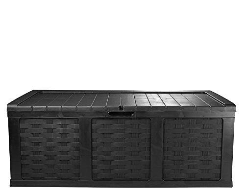 Ondis24 Kissenbox Mimbre Rattan Optik Sitztruhe Auflagenbox Anthrazit 630 Liter XXL mit...