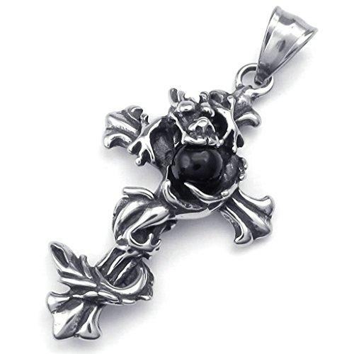 Daesar Acciaio Inossidabile Collana Uomo Ciondolo Collana Drago Croce Pendenti Di Collana Strass Perle Zirconi Argento Nero 18-26 Pollice