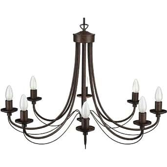 Seynave - Paimpol - Lustre 8 Lumières Brun Antique - Suspension