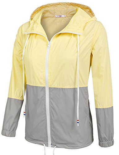 Damen Jacke Windbreaker Übergangsjacke Wasserabweisend Regenmantel Regenjacke mit Kapuze , Farbe - Gelb , Gr. S - 2