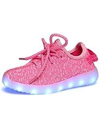 iBaste Niños Zapatos de Moda Zapatos Casuales Zapatos de Coco Luminosos LED Recargable Colores Rosa Talla 25