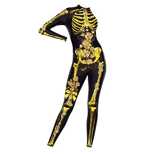 3D-Schädel-Rack Printed Bodysuit Halloween Cosplay Schädel-Knochen-Spielanzug Bodysuit-Overall-3D-Druck