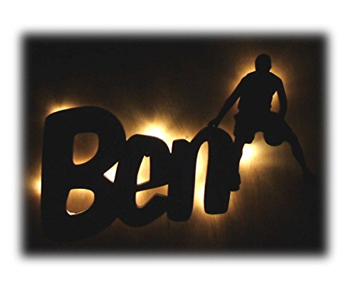 """Nachtlicht """"Basketball"""" mit Name nach Wunsch, ideales Geschenk für Ballsport-Fans, als Deko-Lampe zum Zimmer verschönern"""
