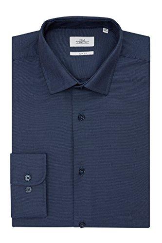 next Herren Slim-Fit-Hemden mit Krawatte, 2er-Pack Slim Fit Blau/Marineblau