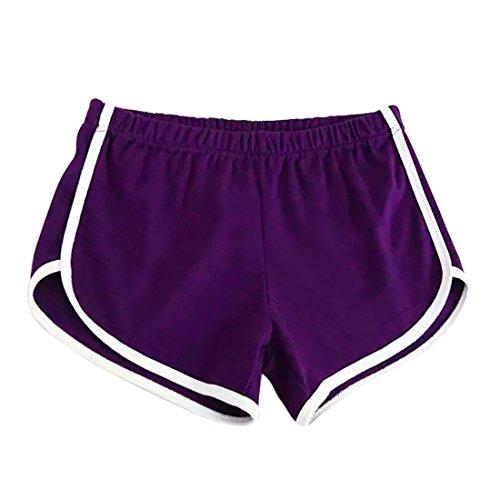 Lila Damen-shorts (Vertvie damen Retro-Shorts Hot Pants Sporthose Strand Running Gym Yoga Shorts Sweatshorts (Lila, Size M/EU 36-38))