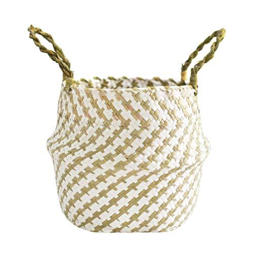 Geflochtener Korb, Weidenkorb aus Seegras, Plüschkugeln Tote Belly Faltbarer Korb für Heimspielzeug Aufbewahrung Wäsche Picknick Garten Blumentopf -