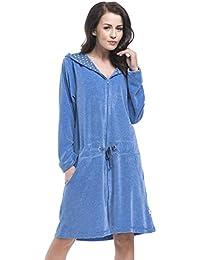 dn-nightwear Damen Bademantel/Morgenmantel/Saunamantel mit Kapuze mit hohem Baumwollanteil