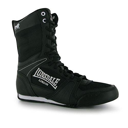 Schwarz Veloursleder-plattform-stiefel (Lonsdale Junior Contender Boxing Stiefel Mid Schnürschuhe Sport Boxen Schuhe Schwarz/Weiß 5.5 (38.5))