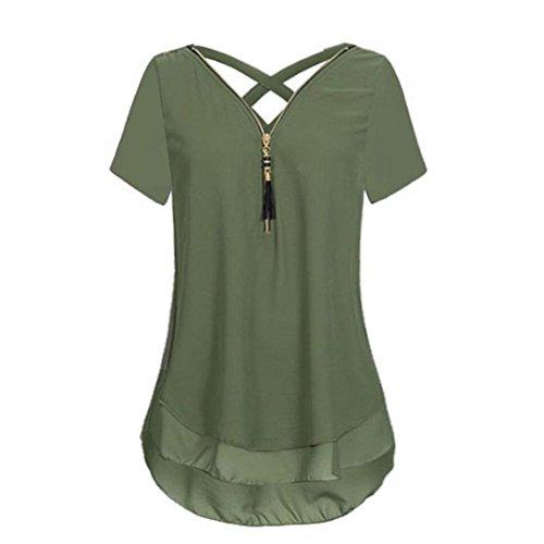 Lilicat Frauen Sommer Chic Crops Top Damen Streifen Shirt Top Bluse Aus Schulter Neckholder Oberteile Mode Tank Top (M, Armee Grün B)
