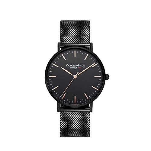 victoria hyde mens watches stainless steel business quartz second hand simple dial waterproof replaceable milanese band black rose gold - the city collection (black)