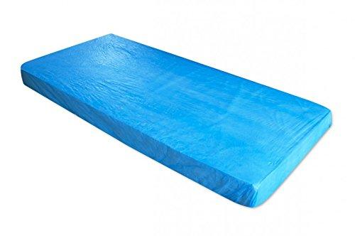 Matratzenschoner in der Farbe blau aus CPE | Der Matratzenbezug kann zum Schutz von Schlafunterlagen verwendet werden & ist als Nässeschutz für die Matratze unkompliziert anzuwenden, 10 St.