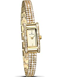 Ladies Gold Plated Stone Set Bracelet Watch(339287700)