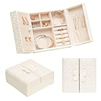 Becko Jewelry Box Organizer Travel Jewel Case with Butterfly Magnetic Opening for Multiple Necklaces, Rings, Bracelets, Compact Size but Large Capacity, Lightweight, Portable & Practical (White)