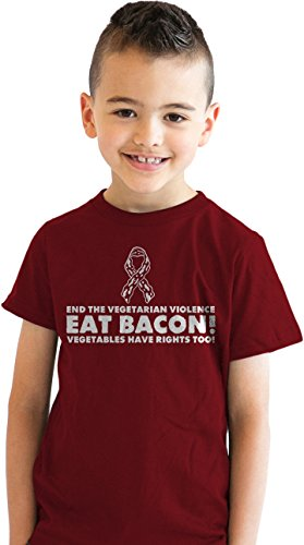 Preisvergleich Produktbild Crazy Dog TShirts - Youth End Vegetarian Violence Eat Bacon Funny Protest Parody T shirt for Kids XL - jungen - XL