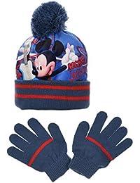 28e53924ec22 Mickey Mouse Ensemble Bonnet Pompon + Gants Mickey Bleu - Impression  Sublimation Acrylique et Polaire Disney