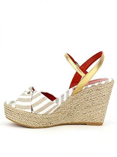 Cendriyon, Compensées Beige Cuir GRAN LO.E Créateur Chaussures Femme Beige