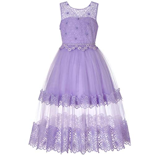 Kostüm Dress Childrens Flower Fancy - ZYLL Girl Pageant Dresses, Dress Lace Hot Diamond Flower Girl Puff Princess Dress für Fancy Dress Halloween Kostüm-Hochzeit Party,Purple,160CM