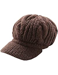 LOCOMO Women Girl Slouchy Cabled Pattern Knit Beanie Crochet Rib Hat Brim Newsboy Cap Warm FAF026
