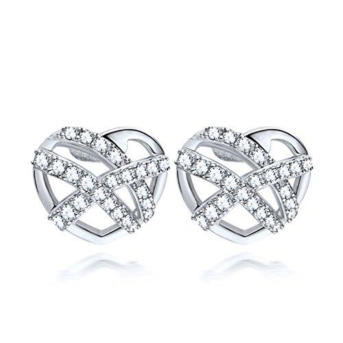 Dolce a forma di amore Stud Earrings/925 D'argento orecchini in platino placcato/ Giapponese e coreano (Diamante Forma 925 Orecchini D'argento)