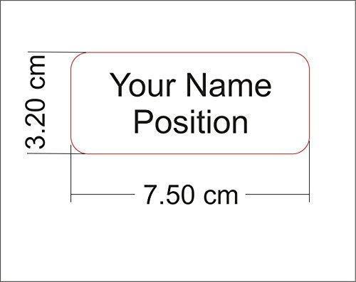 Name Abzeichen Gravierte Rechteck Runde Form, Personalisiert mit Viele Farben und Verschiedene Schriftarten Option - Weiß