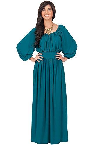 Göttin Grüne Kleid (KOH KOH® Damen Langarm Rüschenband Maxikleid Empire Taille Cocktail Abend Kleid , Farbe Grün, Größe L / Large)