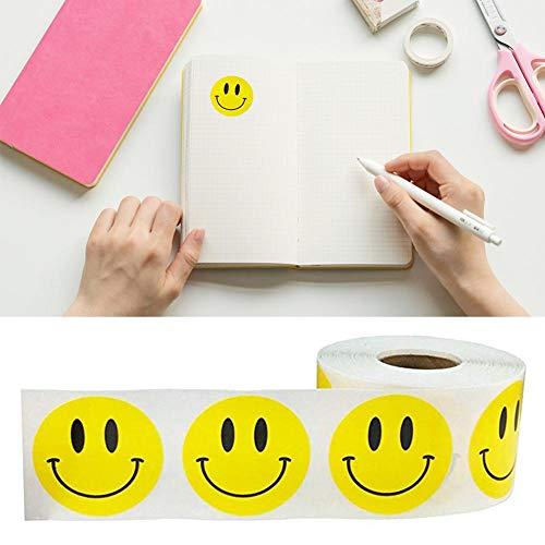 Kaersishop Smiley-Aufkleber Rolle glückliches Gesicht Aufkleber, Kreis Punkte Papieretiketten Belohnung Aufkleber, glänzend gelb glückliches Gesicht Kreis Punkt Aufkleber (1 Zoll gelb) (Gelber Kreis Papier)