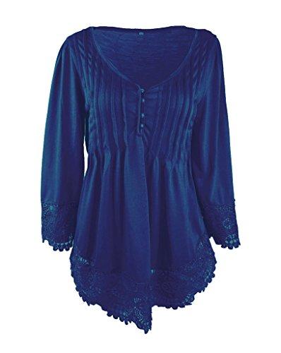 Bigoof Vogue Jointif T-shirt Dentelle Colv Sexy Top Manche Longue Bleu Royal