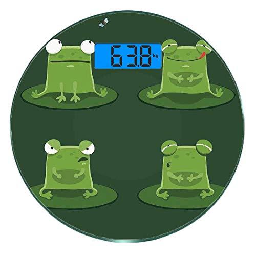 Digitale Präzisionswaage für das Körpergewicht Runde Lustig Ultra dünne ausgeglichenes Glas-Badezimmerwaage-genaue Gewichts-Maße,Lustiger Muzzy Frog auf Lily Pad im Teich, der geschmackvolles Fliegen- -