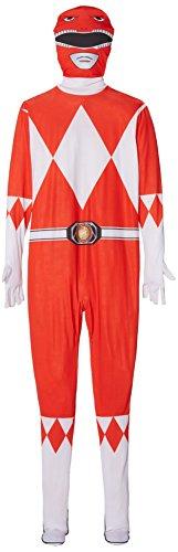 Adult Red Power Ranger Mighty Leinwanddruck 2 nd Skin Fancy Kleid Body Herren Kostüm – XL Höhe zwischen 5 '25,4 cm-6' 7,6 cm