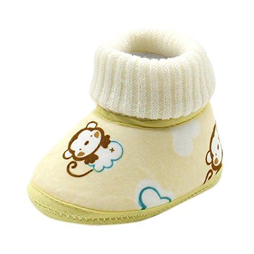 i Babyschuhe, Switchali Affe-Druck Baby Stiefel weiche Sohle Prewalker Lauflernschuhe Krippeschuhe Winter Stiefel (13, Gelb)