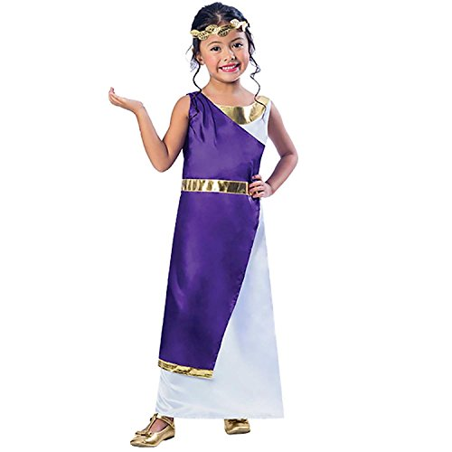 Kind Römische Kostüm Göttin - Mädchen Römisch Kostüm Griechische Göttin Buch Woche Tag Kinder Halbschuhe Kostüm lila gold Toga Kleid KOPF KRANZ Blatt - Gold / lila/weiß, 116